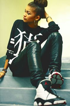 The hottest look - leather pants with leather Jordan's