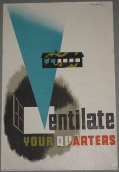 Abram Games Ventilate your quarters poster