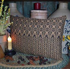 "Primitive Woven Coverlet Antique Black Throw 8""x12 "" Accent Pillow Vtg Blanket   eBay  Neat border!"