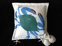 "Blue Crab pillow 20"" coastal Atlantic beach seafood vacation ocean nautical outdoor claws crabcakes seashore Crabby Chris Original. $41.00, via Etsy."