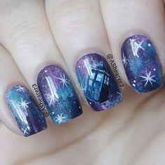 who inspired nails galaxy nails, nails for kids, nail polish art, toe. Fancy Nails, Trendy Nails, Diy Nails, Cute Nails, Fingernail Designs, Diy Nail Designs, Doctor Who Nails, Do It Yourself Nails, Galaxy Nails