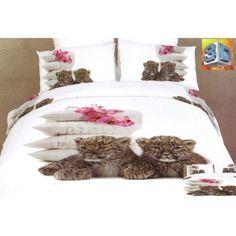 Biele posteľné prádlo s gepardmi, vankúšmi a orchideami