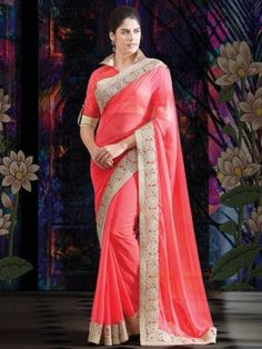 Peach Faux Chiffon Saree With Cutwork www.saree.com