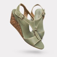 The Lolita - Sage / Cork.   On sale for $395. #AnyiLu #wedges #fashion #shoes