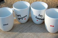 DIY Mugs, ceramic paint marker, oven for 1 hr on lowest setting. Let them cool in the oven.