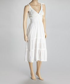 Take a look at this White Crochet Lace Smocked Dress by SR Fashions on #zulily today!