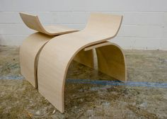 Each of the curve chairs were made using two curved pieces created using only one mold. They were cut and reused to maintain the exact same radius. The chairs may be arranged to face each other for conversation or in the same direction to create a long bench. The chairs are made from Luan bending plywood and beech veneer using a vacuum bagging process. 2009.