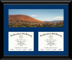 penn state double diploma frame with photo by william ames