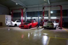 """""""Simple"""" detailing/mechanic shop. Red GTR-R34 has RB28 pushing 650+ whp. Silver GTR-R33 was taken apart to the last bolt and is absolutely mint, around 500hp. White GTR-R33 is supposed to be drag race project. AutoParteS, Zagreb, Croatia."""