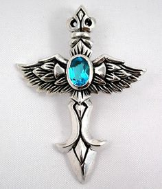 Blue Topaz Gothic cross wings pendant.Sterling Silver.