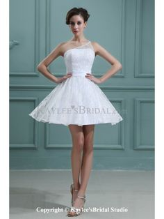 Lace and Satin One-Shoulder Short A-line Wedding Dress with Embroidered