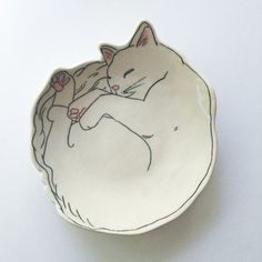 Kitten plate Cat plate Kitty Dessert Plate by EarlyBirdDesignsShop