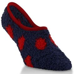 Marshmallow Soft Microfiber Fuzzy Footie Game Knits Socks in Navy and Red