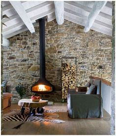 Cozy cabin--fireplace and stone wall Stone Wall, House Design, Cozy Cabin, House, Fireplace Design, House Styles, Wood Burner, Fireplace, Living Room Designs
