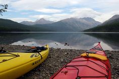8 states running out of water -- MONTANA -- Kayaks sit on the shore of Kintla Lake in Glacier National Park, Mont. Matt Volz/AP
