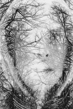 """""""Winter Melancholy"""" series by Christoffer Relander. In-camera, multiple exposure portraits. #art #photography"""