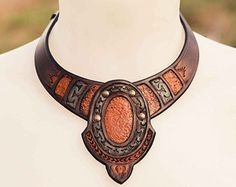 Leather Dryade necklace by ArteideStudio on Etsy