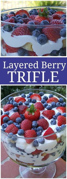 This Layered Berry Trifle is the perfect, easy dessert to make in spring, summer or early fall- any time you have fresh berries!  Also a nice Mother's Day dessert recipe, Easter dessert recipe or 4th of July dessert recipe!  Recipe from http://RecipeGirl.com.