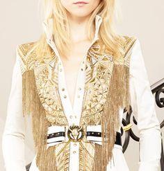 Balmain white and gold fringe shirt top