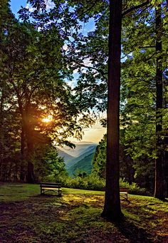 Almost Heaven - West Virginia 4.  Have a seat. The show is just beginning at a sunset lookout in beautiful Babcock State Park in West Virginia. The deep blue valleys accent the distant glowing mountain ridges that beckon the adventurous spirit in all of us.
