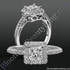 A beautiful Halo Style Princess Cut Diamond Engagement Ring with custom detailing, pave set accent diamonds and a low mount center stone. The perfect type of engagement ring for someone that is very active with their hands. Popular Engagement Rings, Engagement Rings Princess, Engagement Ring Styles, Designer Engagement Rings, Halo Engagement, Yellow Diamond Engagement Ring, Filigree Engagement Ring, Antique Engagement Rings, Diamond Rings