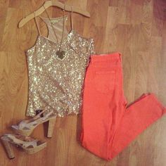 sparkles and #coral pants
