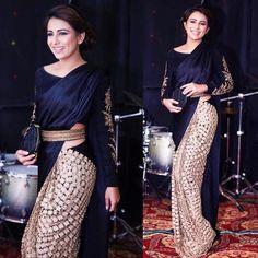 Ushna Shah in #MaheenTaseer 's two toned belted Sari at a recent event. #ushanShah #whatshewore #blues #gold #maheen #fashion #diva…