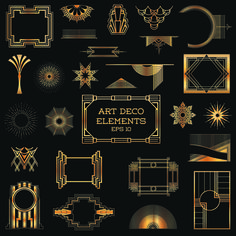 Free Golden art ornament elements vector 01 ~Art Deco Frames and Embellishments