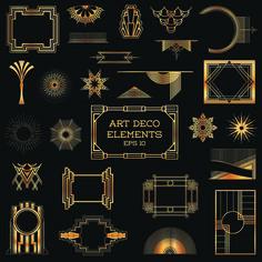 Free Golden art ornament elements vector 01 ~Art Deco Frames and Embellishments