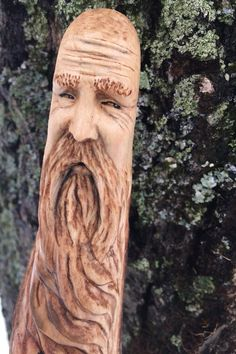 Wood Walking Stick Carving Hand Carved Wood Spirit by JoshCarteArt