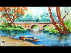 How To Draw A Very Simple Scenery With Bridge For Beginners | Step by Step - YouTube