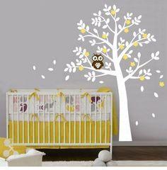 Witte boom met uil - Muurstickers kinderkamer babykamer