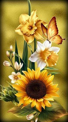 Sunflower Wallpaper, Flower Phone Wallpaper, Butterfly Wallpaper, Colorful Wallpaper, Orange Wallpaper, Spring Wallpaper, Sunflower Pictures, Sunflower Art, Beautiful Flowers Wallpapers