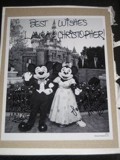 "Wonder if this really works. o_O ""If you send an invite to  Disney World or Disney Land for Minnie & Mickey, this is what you'll receive in the mail, an autographed picture and a ""Just Married"" button."""