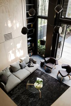 Elysium - desire to inspire - desiretoinspire.net What's black and white and modern all over? (With some original architectural features here and there...) Elysium by Architect Prineas. Sharing their love for simplicity and the Flos Aim pendant. (Photos: Chris Warnes)