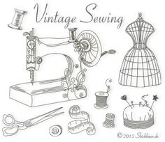 Understanding The Vintage Sewing Pattern - Sewing Method Sewing Art, Sewing Dolls, Love Sewing, Embroidery Stitches, Embroidery Patterns, Hand Embroidery, Vintage Sewing Machines, Vintage Sewing Patterns, Foto Transfer Potch