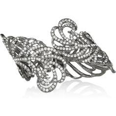 Kenneth Jay Lane Gunmetal-plated Swarovski crystal cuff ($475) ❤ liked on Polyvore
