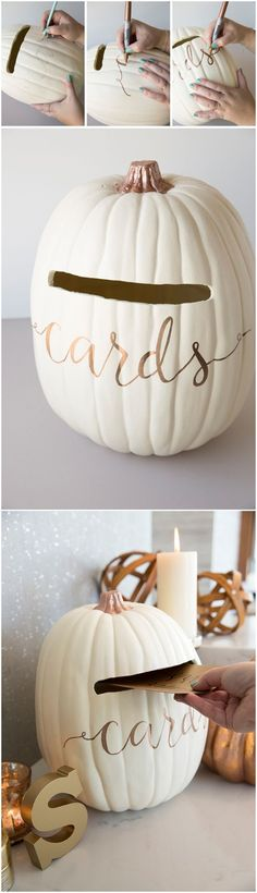 20 Creative Wedding Card Box Ideas Many Brides are Dying for! how to turn a foam pumpkin into the most perfect fall wedding card box Instead of cards have recipes STEP-BY-STEP INSTRU. Baby Shower Fall, Fall Baby, Girl Shower, Baby Shower Themes, Shower Ideas, Fall Wedding, Diy Wedding, Wedding Ideas, Trendy Wedding