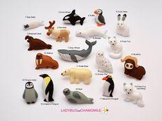 ARCTIC ANIMALS magnets Special edition -  Price per 1 item - make your own set - orca,emperor penguin,seal,walrus,whale polar bear polar fox