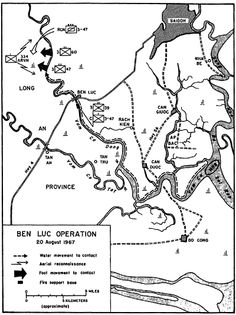 August 20, 1967     The Mobile Riverine Force fought the 506th VC Local Force Battalion at Ben Luc as part of Operation CORONADO IV. This action claimed 59 VC KIAs while the U.S. suffered 6 WIAs.