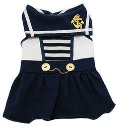 Vestidos azuis do marinheiro filhote de cachorro - 4-Legged