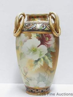 Antique Nippon Porcelain Hand Painted Moriage Massive 15 Inch Tall Gilt Vase