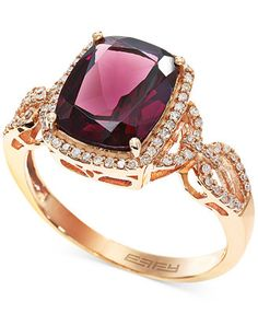 Bordeaux by EFFY Rhodolite (3-3/8 ct. t.w.) and Diamond (1/4 ct. t.w.) Ring in 14k Rose Gold