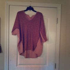 Oversized sweater top size medium blush Boutique top. Size medium. Pink blush  in color with blue stitching. It's an oversize fit. umgee Tops Blouses