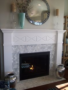 Marble Tile Fireplace. 2013 St. George Parade of Homes- Ivory Homes.