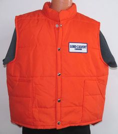 vtg LORD CALVERT Canadian Whiskey 80s Orange SKI VEST XL Swingster booze skiing #Swingster #Vest