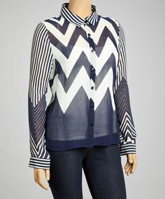 Look at this #zulilyfind! Navy & White Zigzag Button-Up - Plus by MOA Collection #zulilyfinds would look really great over a contrast tee shirt and jeans