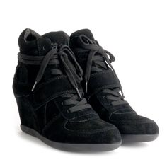 Ash BOWIE black suede high-top wedge trainers