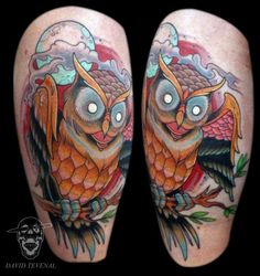 Forearm owl tattoo done by Brock Fidow NZ tattoo artist ...