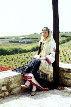 Greek woman in folk clothes Greek Traditional Dress, Traditional Looks, Traditional Outfits, Montenegro, Girls Wear, Women Wear, Ladies Wear, Mediterranean People, Greek Dress
